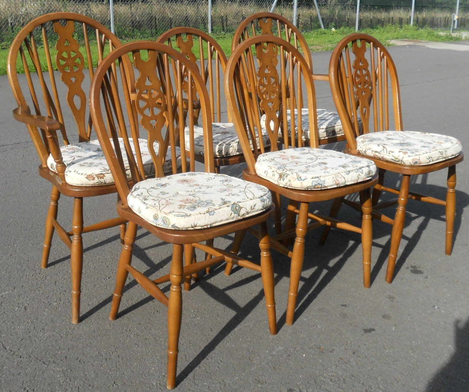 & Set Six Wheelback Chairs u0026 Refectory Dining Table